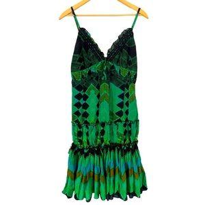 Alberto Makali Cami Slip Green Sundress Medium